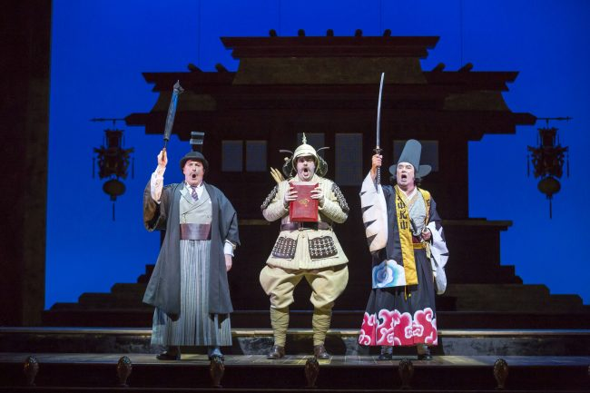 Andrew Shore, Ben McAteer and Richard Suart in The Mikado. Scottish Opera and D'Oyly Carte 2016. Credit James Glossop.