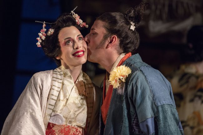 Rebecca Bottone as Yum-Yum and Nicholas Sharratt as Nanki-Poo in The Mikado. Scottish Opera and D'Oyly Carte 2016. Credit James Glossop.