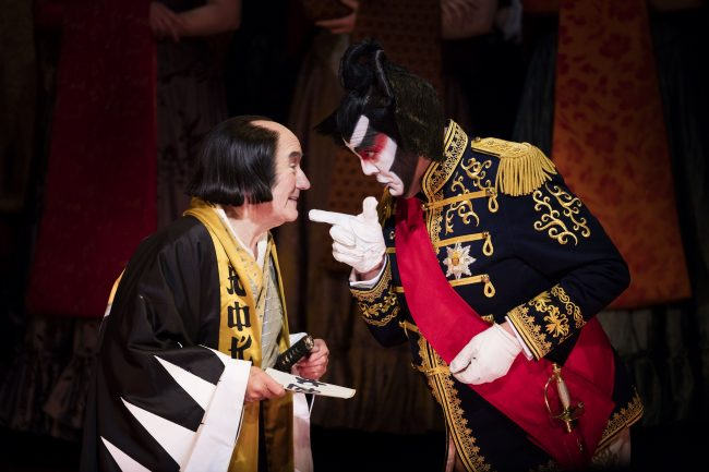 Richard Suart as Ko-Ko and Stephen Richardson as The Mikado. Scottish Opera and D'Oyly Carte 2016. Credit James Glossop.